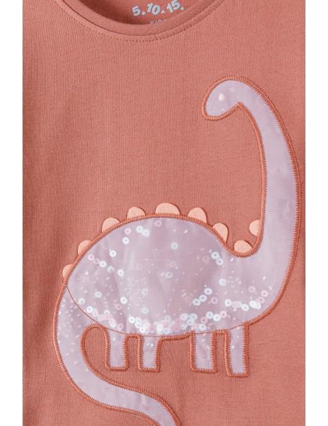 Bawełniana bluzka dziewczęca z dinozaurem