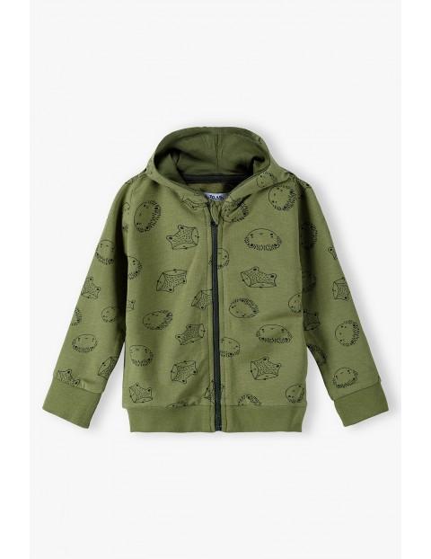 Bluza dresowa niemowlęca z uszkami na kapturze - zielona