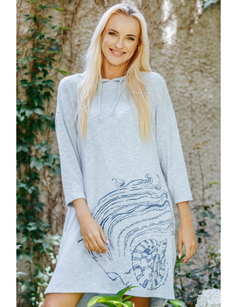 Swetrowa sukienka z kapturem i kieszeniami- szara