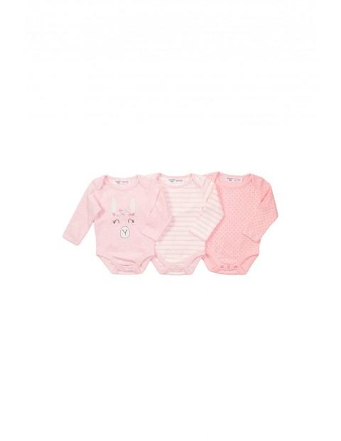 Bawełniane body niemowlęce 3 pak - różowe