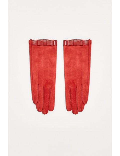 Rękawiczki z imitacji zamszu z kokardka - czerwone