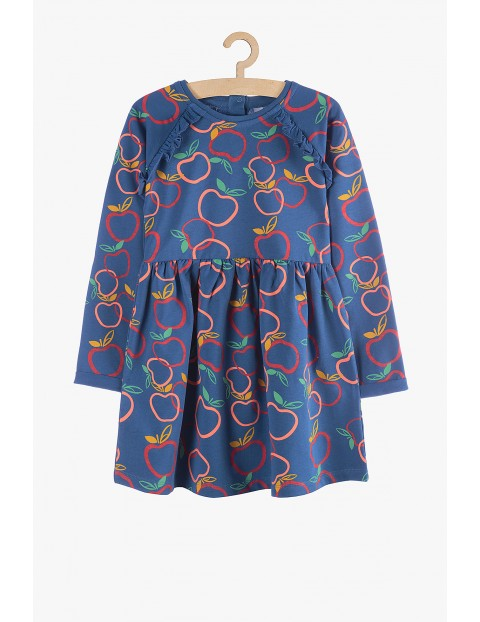 Sukienka niebieska - wzór jabłuszek