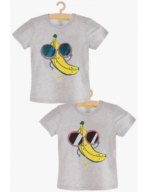 T-shirt chłopięcy szary z dwustronnymi cekinami
