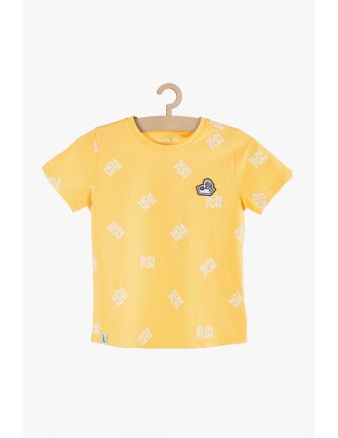 T-shirt chłopięcy żółty z napisami