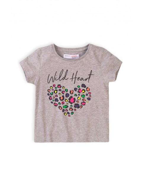 T-shirt dziewczęcy szary z kolorowym nadrukiem