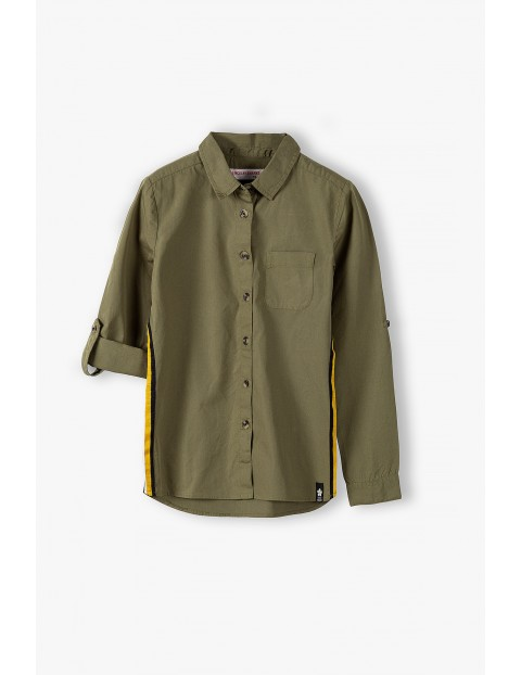 Bawełniana koszula dziewczęca - khaki
