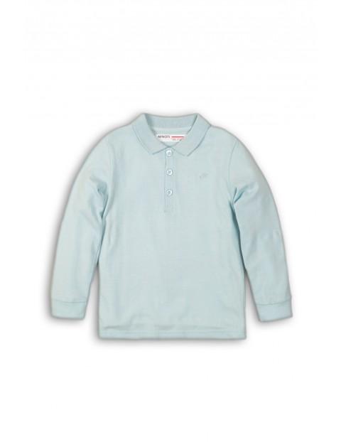 Niebieska dzianinowa bluzka z długim rękawem rozm 92/98