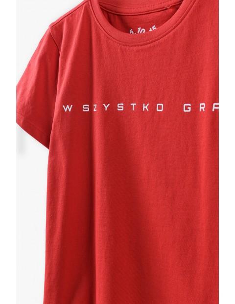 T-shirt chłopięcy  w kolorze czerwonym- Wszystko gra