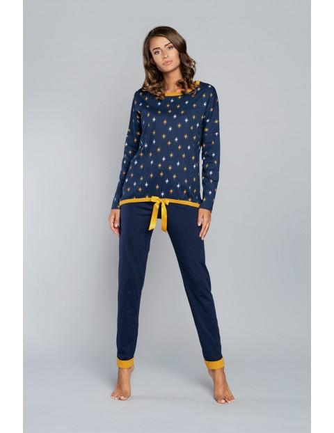 Piżama damska Lutnia długi rękaw i długie spodnie- granatowa w gwiazki