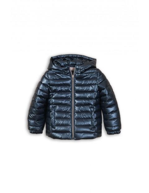 Granatowa kurtka dla dziewczynki z metalicznym połyskiem