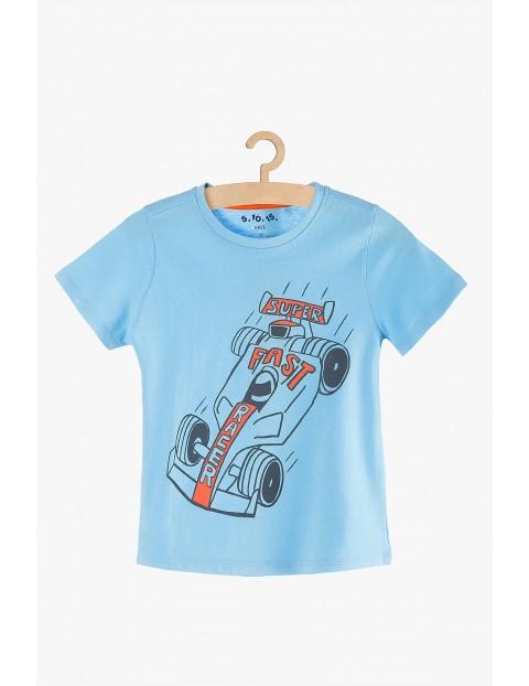 Koszulka z krótkim rękawem- niebieska z autem