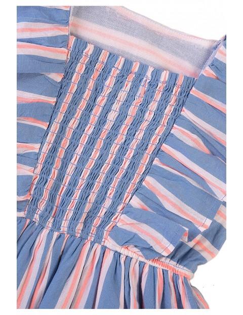 Bawełniana sukienka dziewczęca w paski