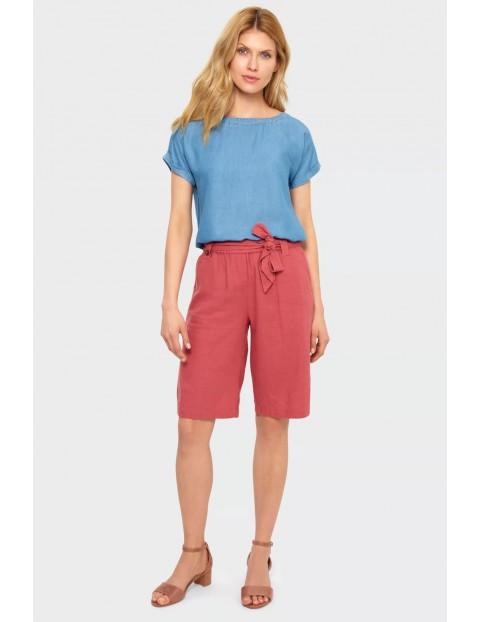 Klasyczna bluzka krótki rękaw z troczkiem na dole z lyocellu - niebieska