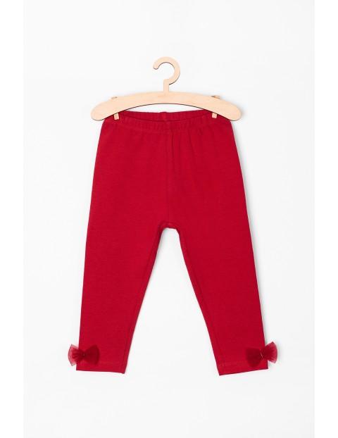 Leginsy niemowlęce czerwone z kokardkami
