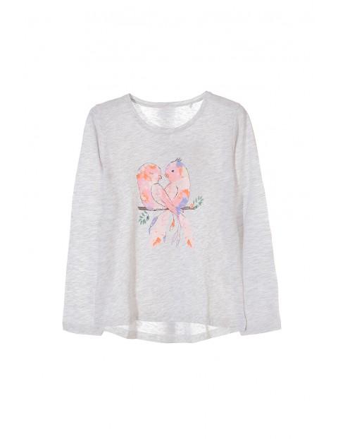 Bluzka dziewczęca szara z kolorowymi ptakami