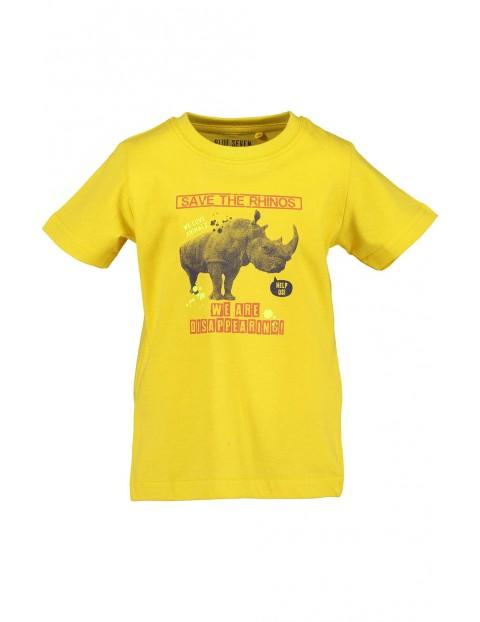 Koszulka chłopięca żółta z nosorożcem