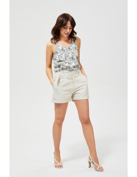 Szorty damskie w paski z podwiniętymi nogawkami beżowe