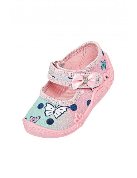 Kapcie niemowlęce różowo-turkusowe zapinane na rzep