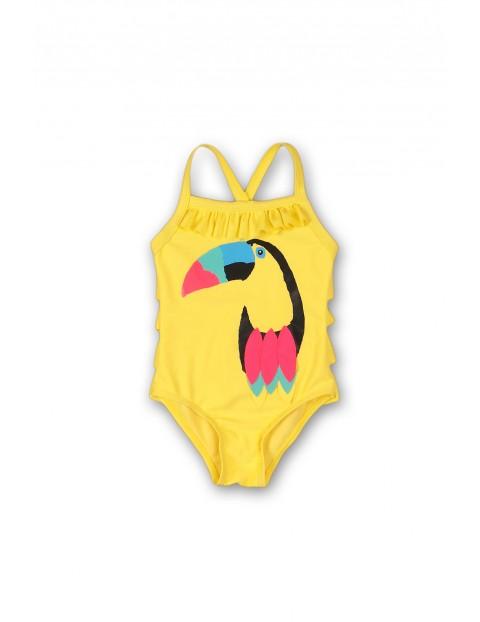 Żółty strój kąpielowy dla dziewczynki z tukanem