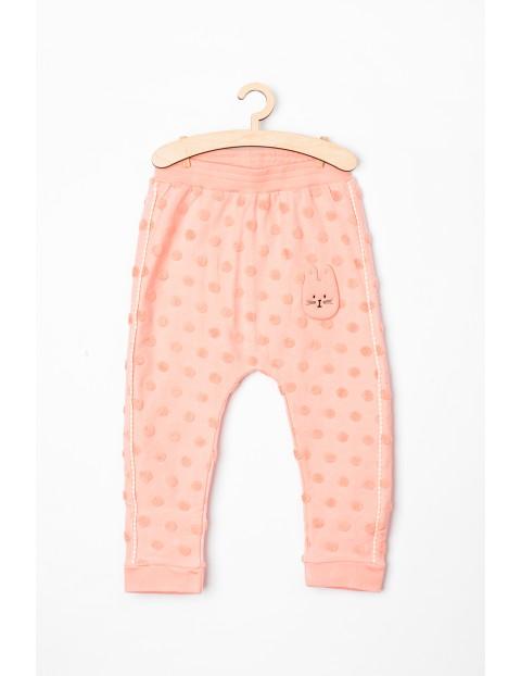 Spodnie dresowe dla niemowlaka-różowe z króliczkiem