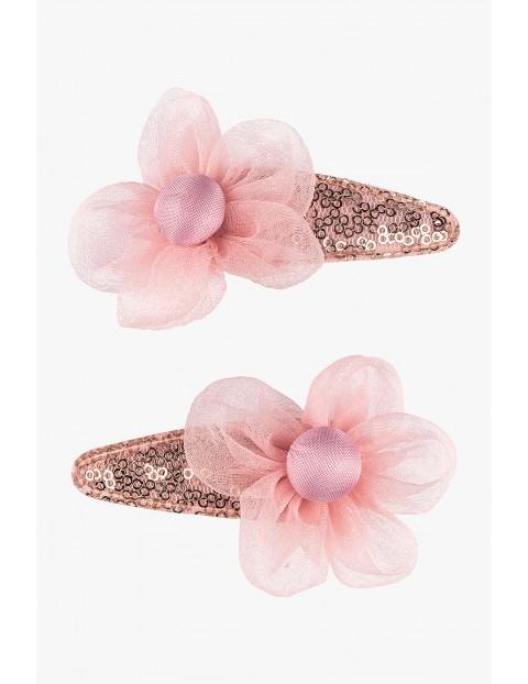 Spinki do włosów różowe kwiatki 2szt