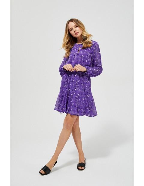 Sukienka damska z falbaną - fioletowa