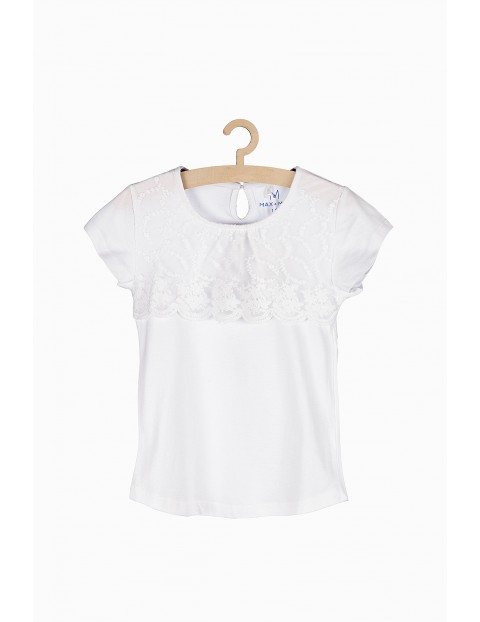 Biały t-shirt dla dziewczynki z ozdobną koronką