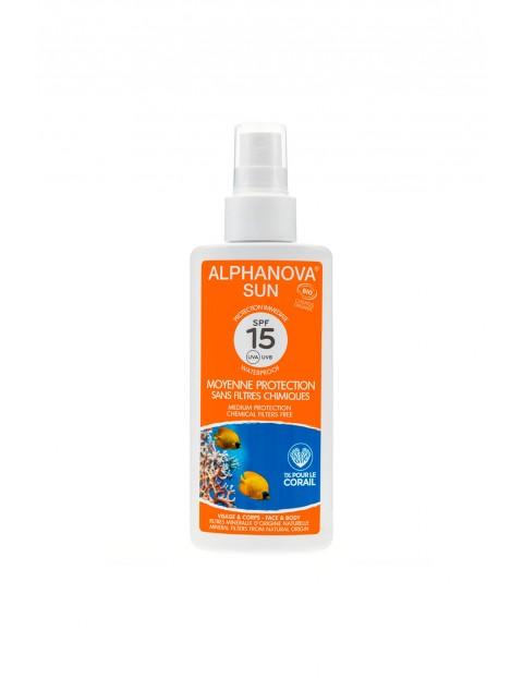 Spray przeciwsłoneczny z filtrem Alphanova SPF 15 - 125 g