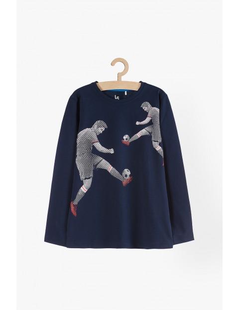 Bluzka chłopięca z długim rękawem granatowa- piłkarze