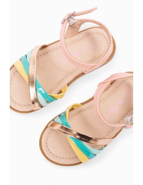 Sandały dziewczęce - kolorowe paski