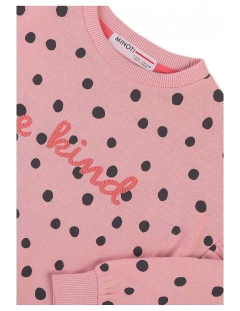 Bluza dziewczęca z napisem- Be kind - różówa