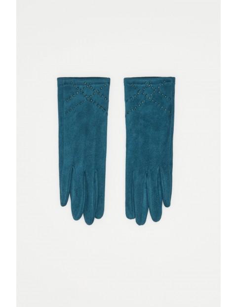 Rękawiczki z imitacji zamszu z plecionką - zielone