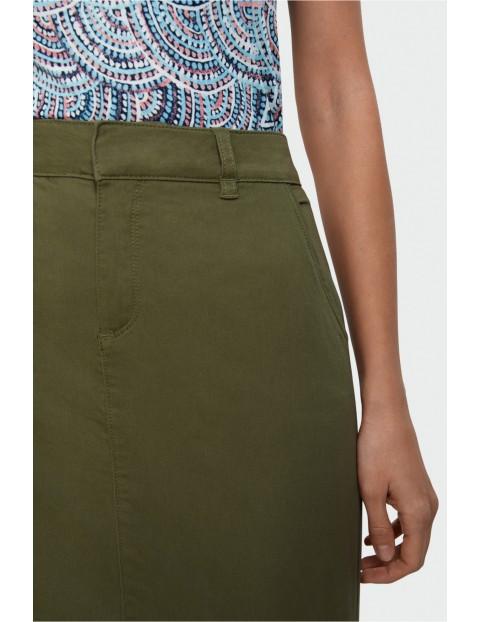 Oliwkowa ołówkowa spódnica z bawełny