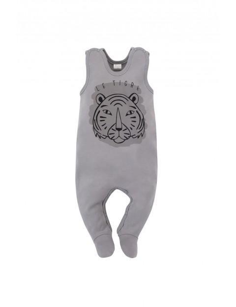 Bawełniany pajac niemowlęcy w tygrysa - szary
