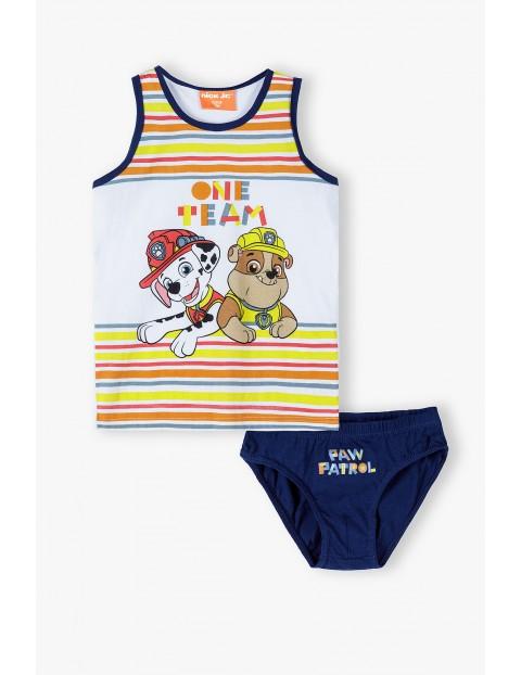 Bawełniany komplet bielizny chłopięcej Psi Patrol - koszulka na ramiączka i majtki - niebieski