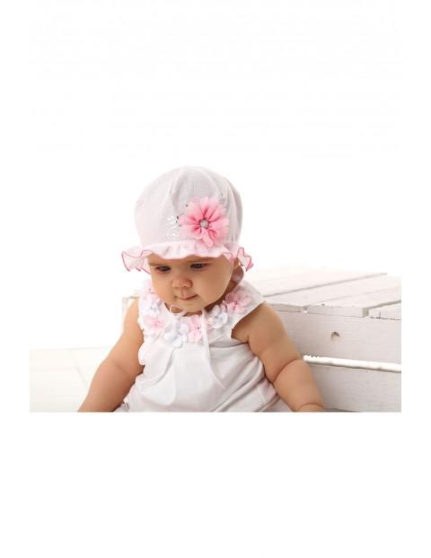 Kapelusz różowy dla niemowlaka- 100% bawełna
