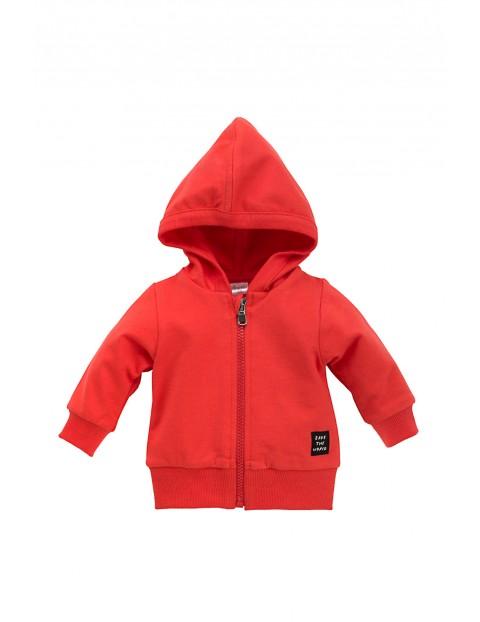 Bluza niemowlęca rozpinana czerwona z kapturem
