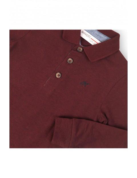 Bordowa bluzka z długim rękawem i kołnierzykiem