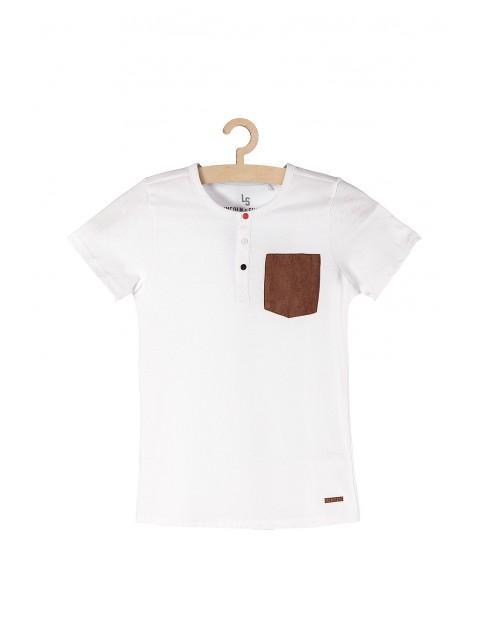 Koszulka chłopięca biała z kieszonką