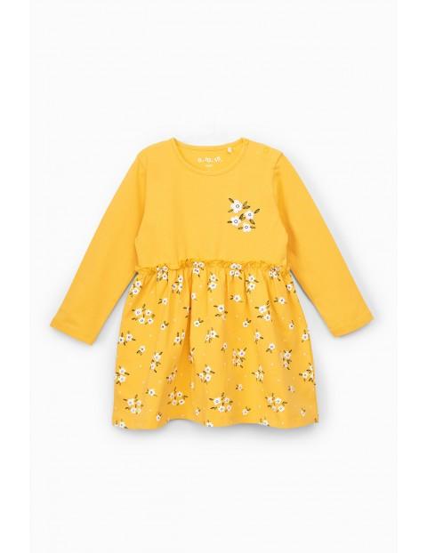 Sukienka dziewczęca dzianinowa - żółta w kwiatki