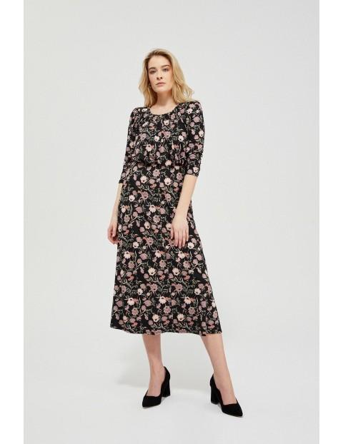 Sukienka damska czarna w kwiaty