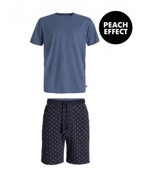 Piżama męska szorty w żaglówki + niebieski t-shirt