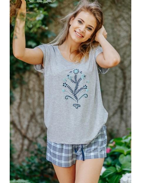 Luźna piżama koszulka i spodenki w kratkę