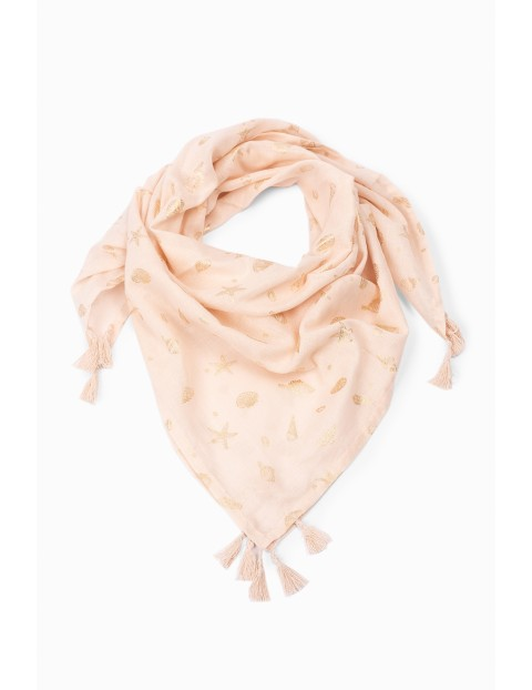 Bawełniana chusta dziewczęca - różowa w motywy morskie
