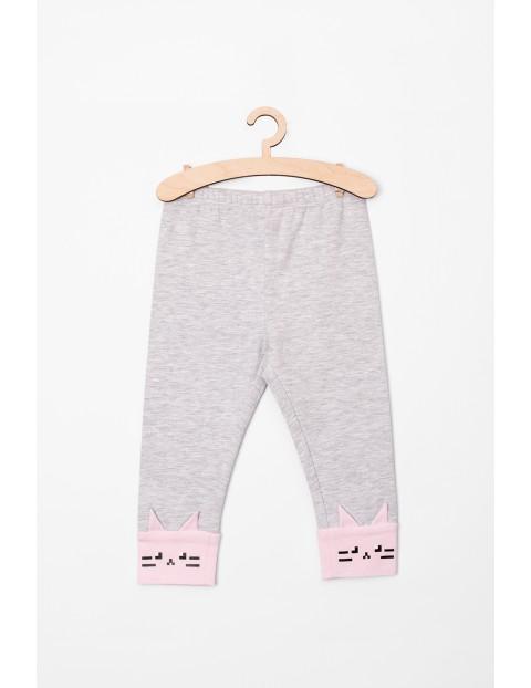Legginsy dziewczęce szare z różowymi kotkami