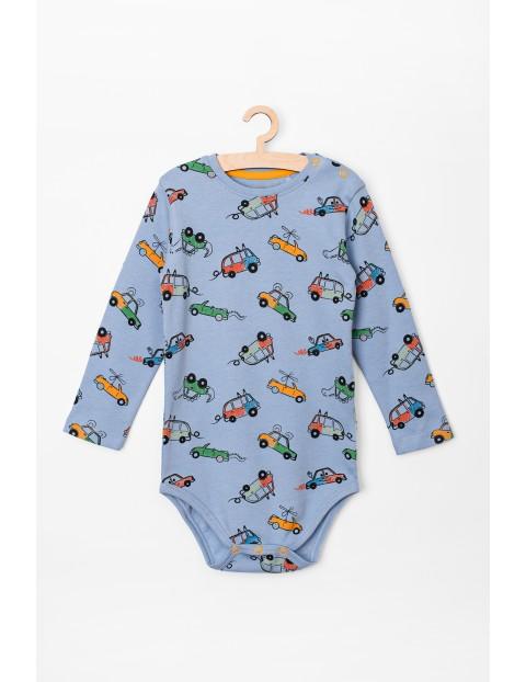 Body niemowlęce z długim rękawem-niebieskie w samochody
