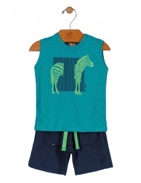 Komplet chłopięcy niebieska koszulka z zebrą i granatowe spodenki