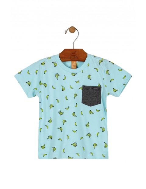 T-shirt chłopięcy niebieski w banany- 100% bawełna