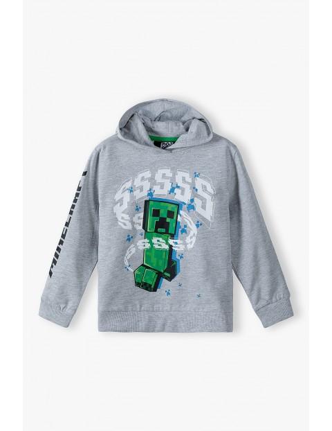 Minecraft - bluza dresowa z kapturem- szara
