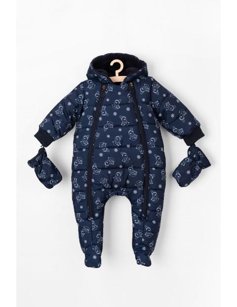 Granatowy kombinezon zimowy dla niemowlaka